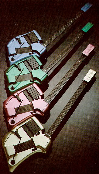 Several multicolored MIDI guitars