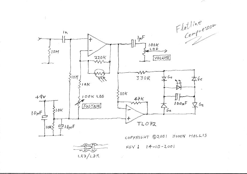 Here is the flatline schematic.  Phantom Wah - Experimental tube compressor schematic; guitar compressor schematic...
